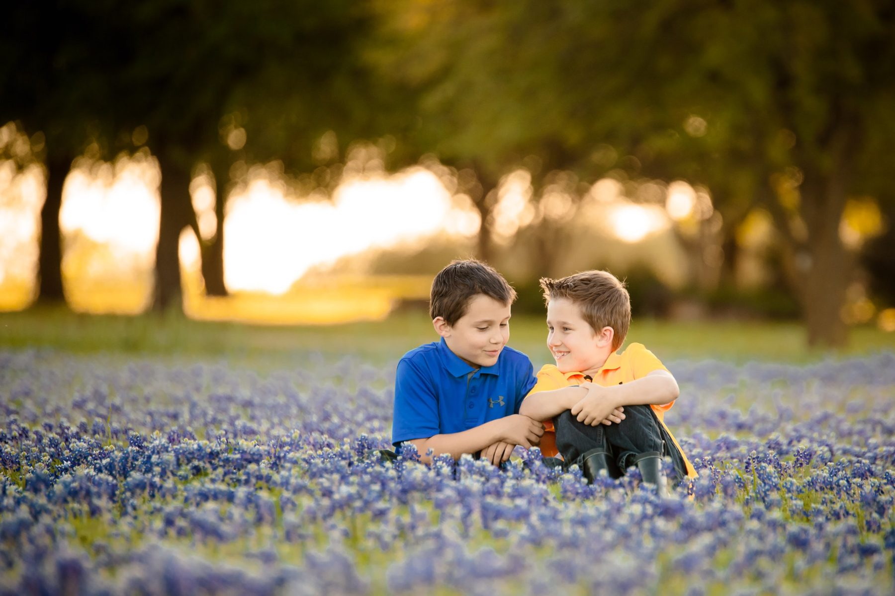 twin brothers in bluebonnets