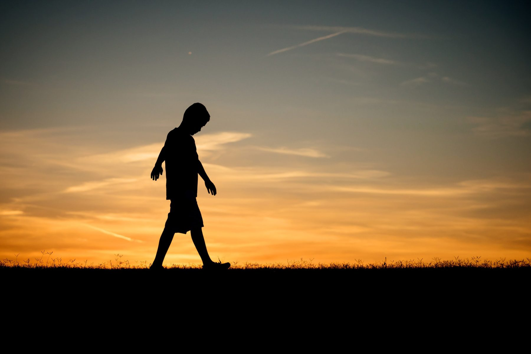 nine year old boy silhouette