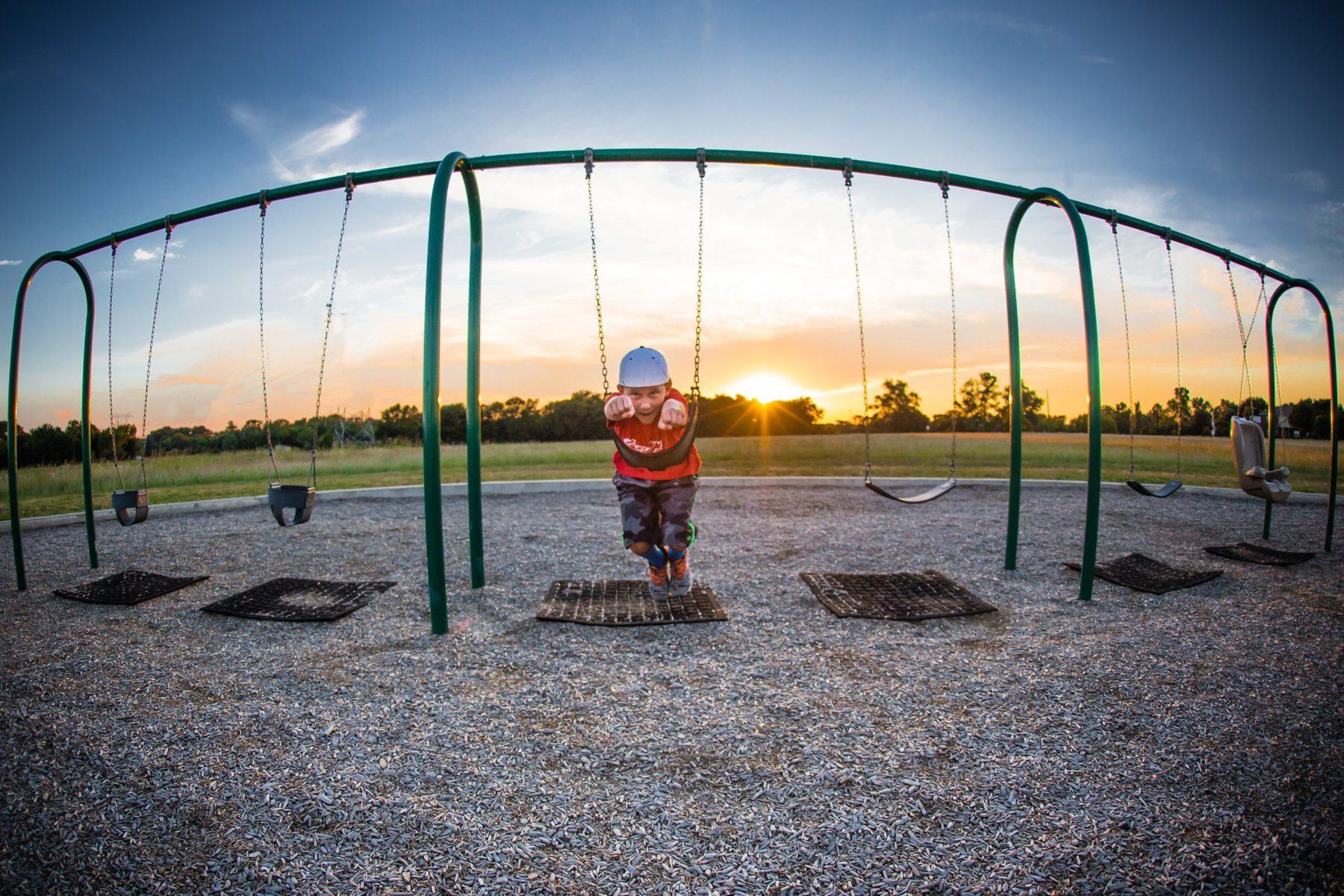 nine year old boy on swing