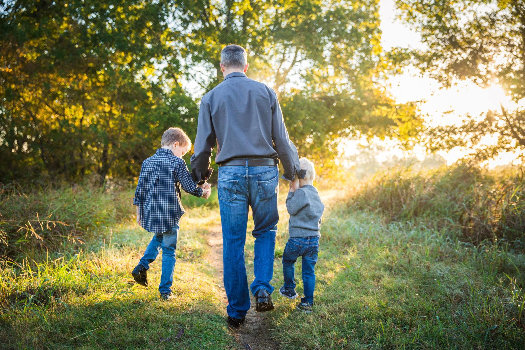 Little boys walking with dad {Family Photographer| Prosper, TX}