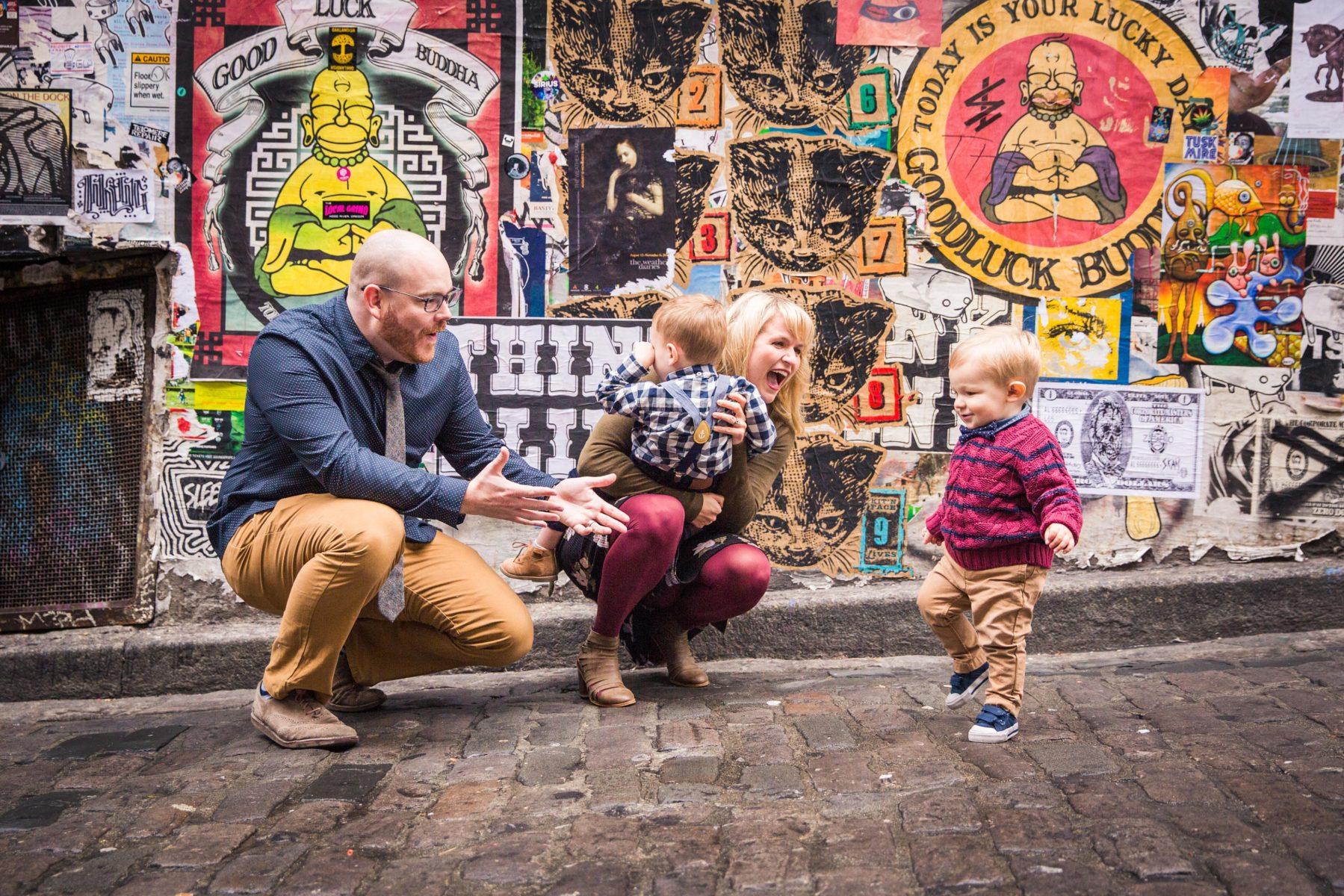 Little boys running to daddy {Family Photographer| Prosper, TX}