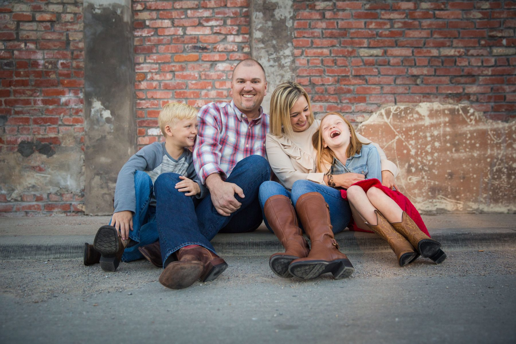 Family laughing in front of Cotton Gin {Family Photographer| Prosper, TX}
