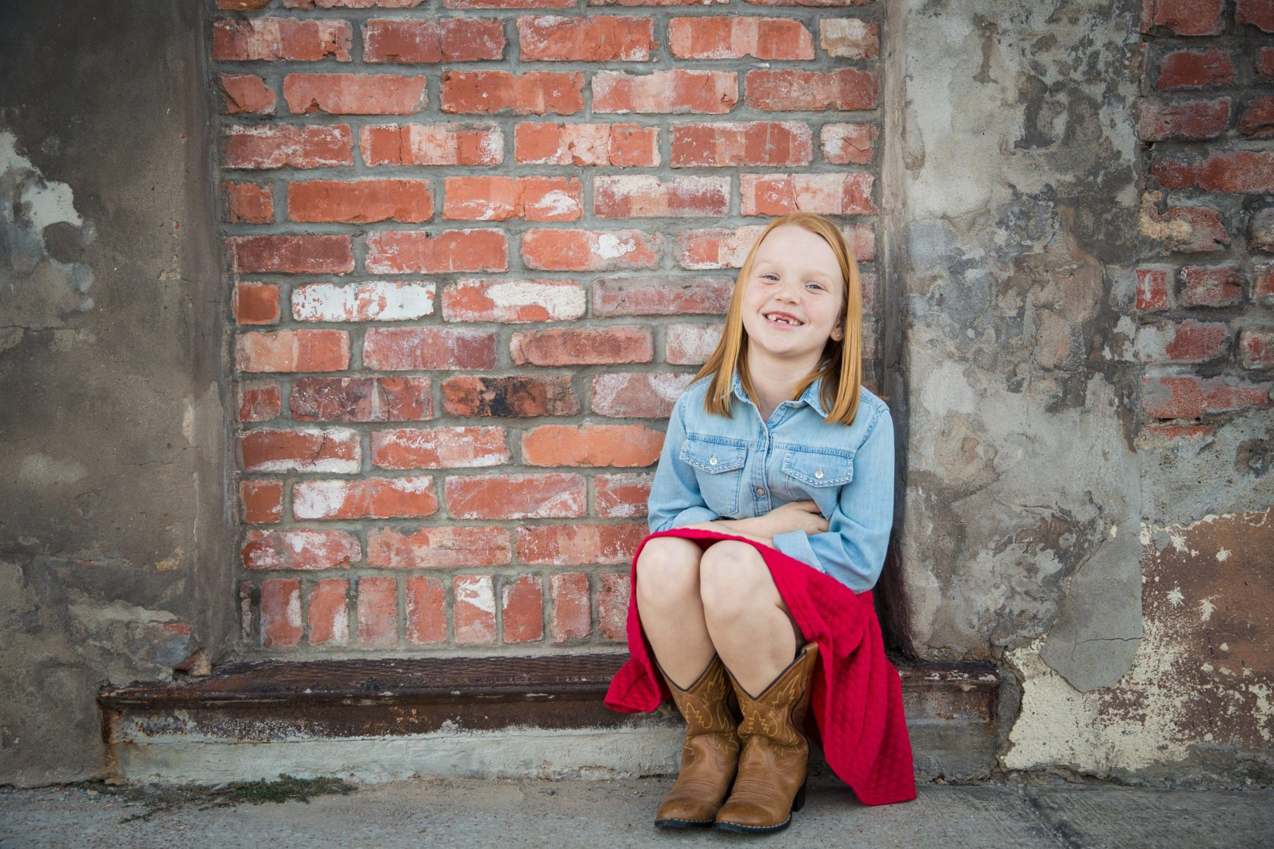 Little sister in red dress {Family Photographer| Prosper, TX}