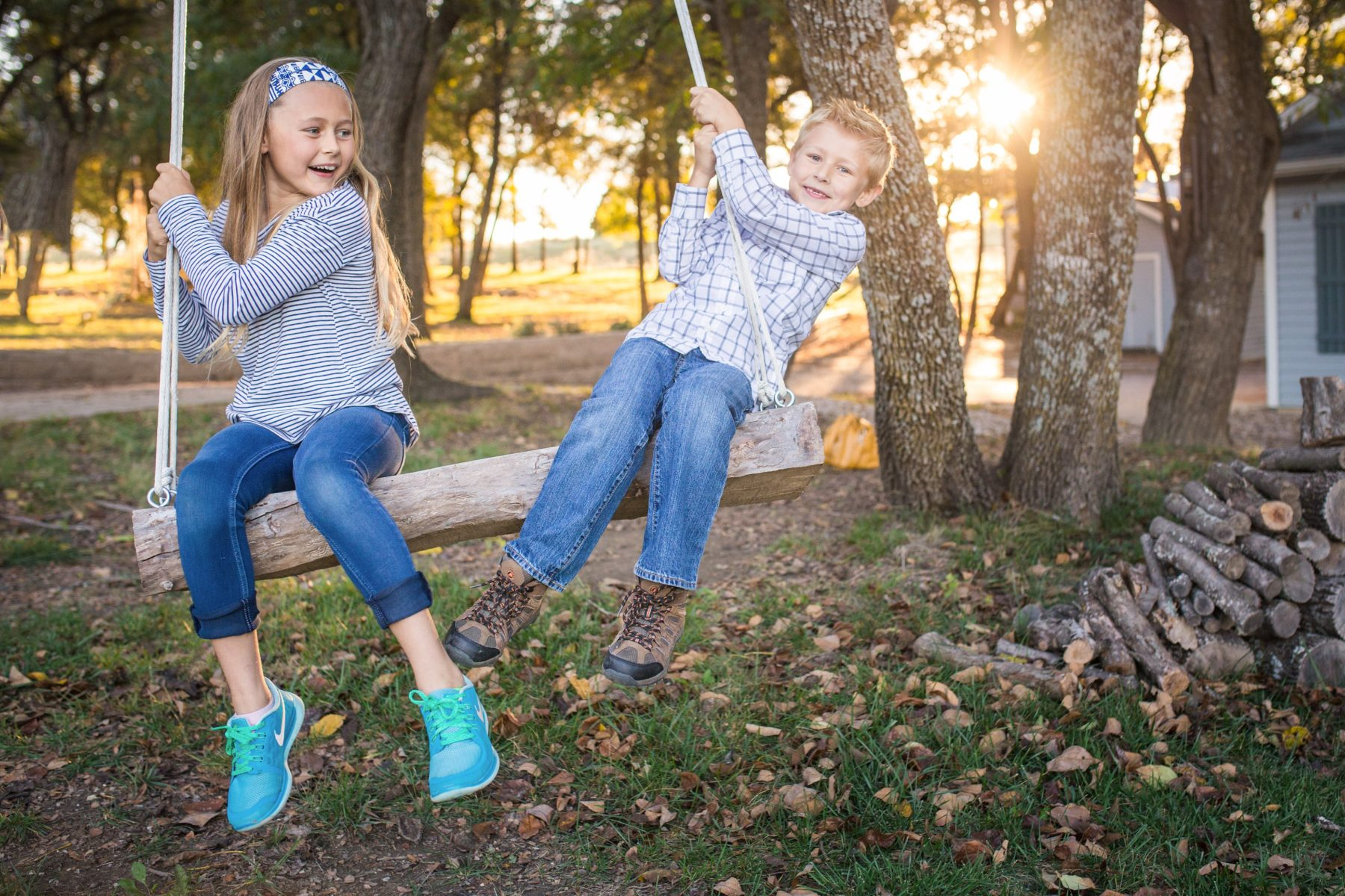 Brother and sister on swing {Family Photographer| Prosper, TX}